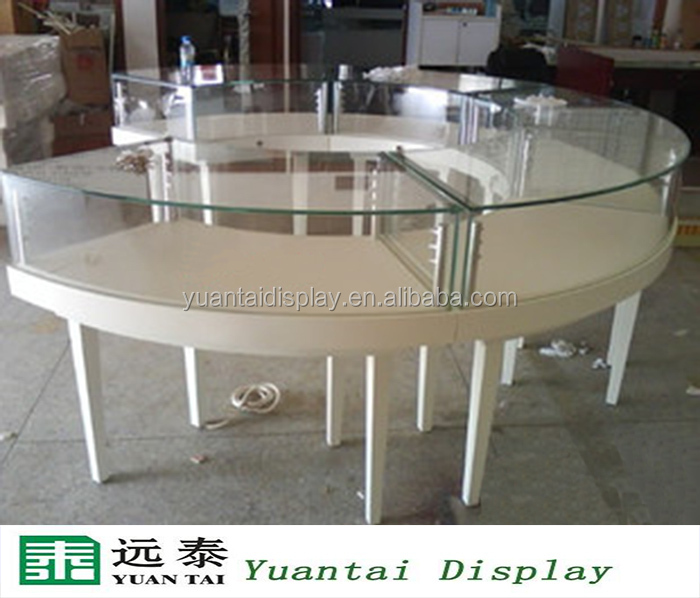 White Round Wooden Glass Jewelry Display Showcase Shop