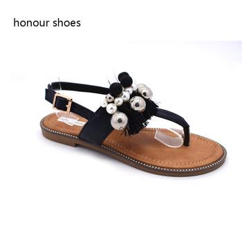 64838142ceb OEM service flip flops Fringe beaded design flat sandals for ladies pictures