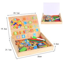Kids Montessori Math Board Games Wooden Counting Toys Digital Magnetic Box Drawing Easel Writing Chalkboard with 100pcs Counting
