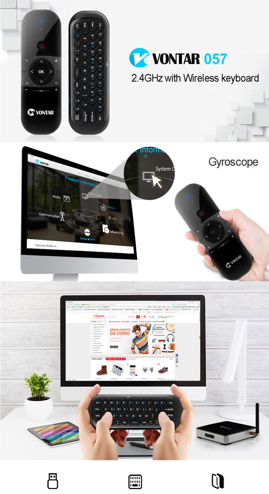 VONTAR Mini Air Mouse Rechargeable English Russian Wireless Keyboard Remote  Control For Windows Android TV Box PC Gamer Black