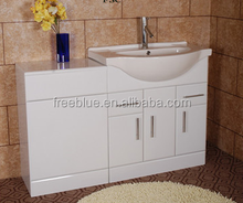 High gloss white Pu finished floorstanding bathroom vanity with WC toilet cabinet