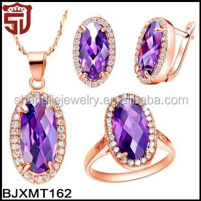 New Arrival 18K Gold Copper Jewelry Set Necklace Earring and Ring Pave with Big Purple Oval Cubic Zirconia Rose Gold Jewelry Set