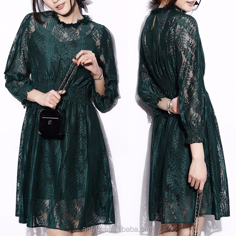 Factory price women clothing Long Sleeve Elegant Green lace dress