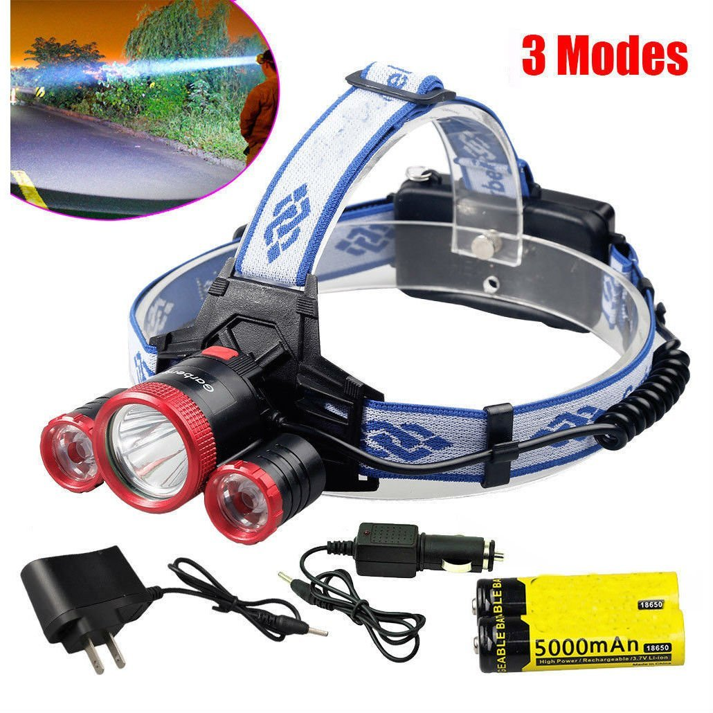 30000LM XML T6 Rechargeable Led Headlamp Headlight Lamp +2X18650 Battery+Charger