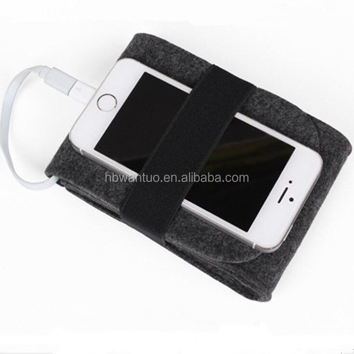 Felt Pouch Charger Storage Bag For Power Bank , Data Cable ,Electronic Gadgets Travel Accessories Organizer