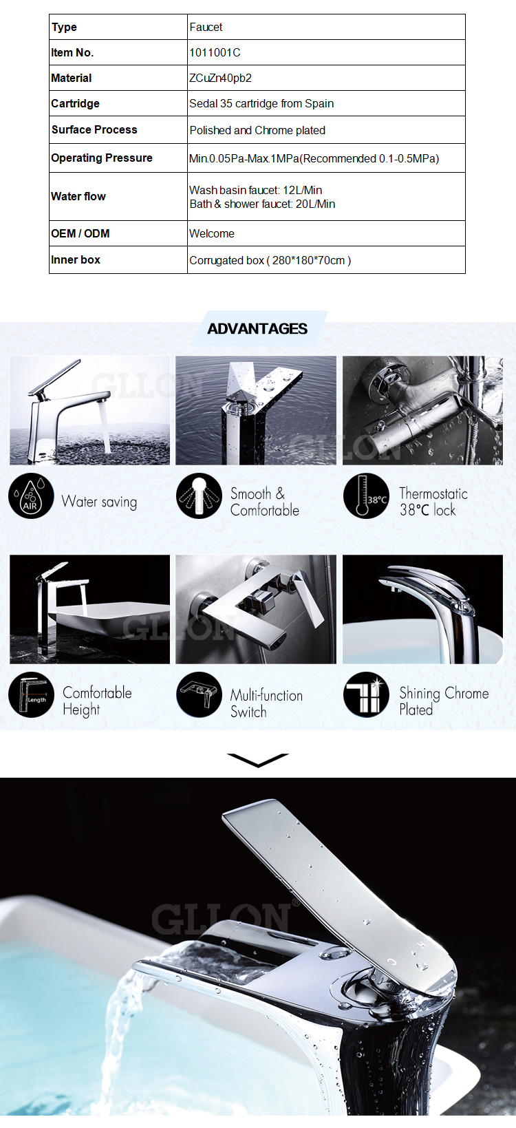 Top1 supplier fashion good price waterfall brass basin faucet
