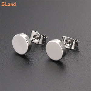 SLand Jewelry Manufacturer wholesale blank DIY engravable Stainless Steel Round Stud Earrings for Women Men