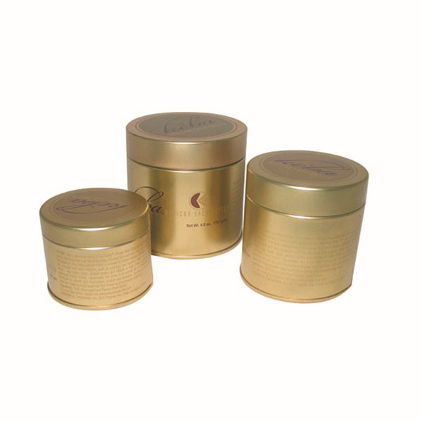 Custom design round gold candle tin box wholesales