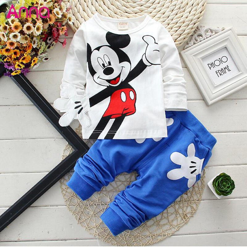 Wholesale Long-sleeved cartoon 2 Pieces baby outfit set
