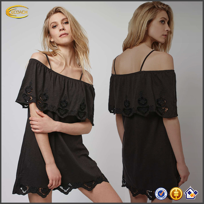 Wholesale spring summer black Off Shoulder Strappy womens sundresses 2016 Selling great dress with intricate cutwork embroidery