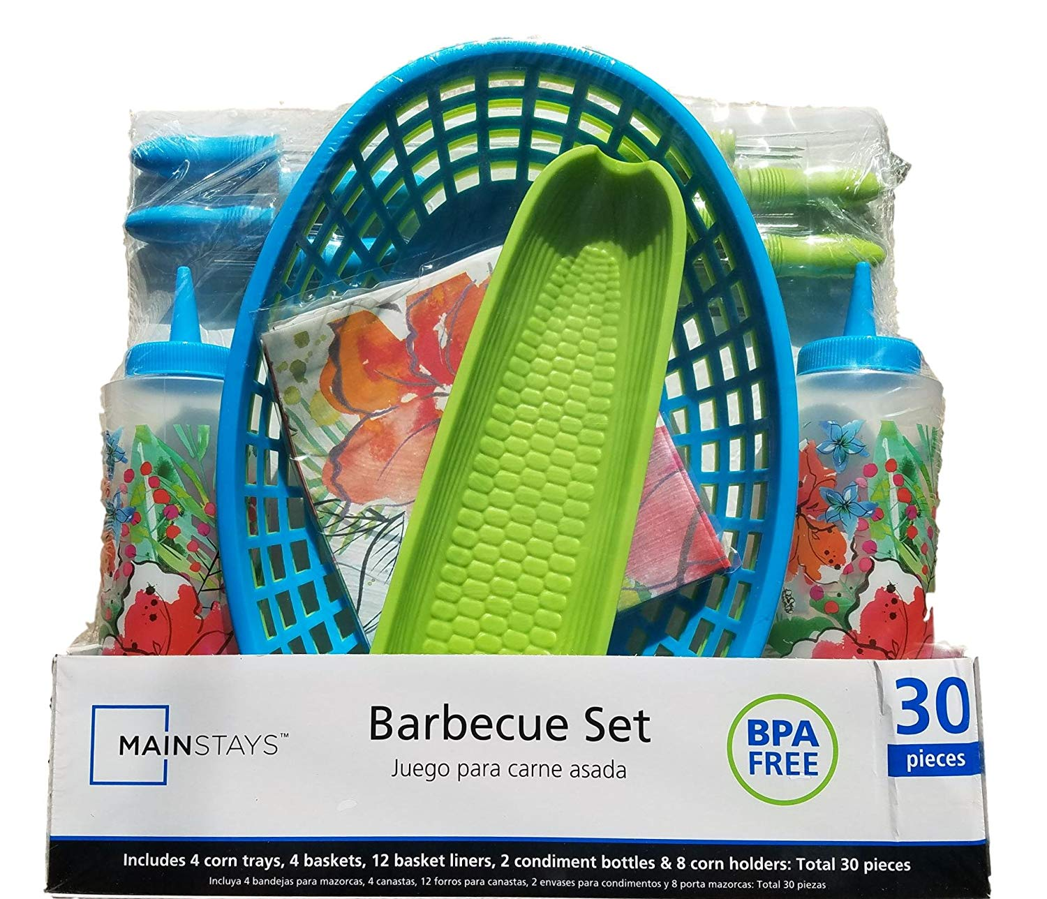 BBQ Picnic Serving Set with Green & Blue Plastic Hamburger Baskets, Floral Food Basket Liners, Corn Trays with Corn Cob Holders, Ketchup & Mustard Condiment Bottle