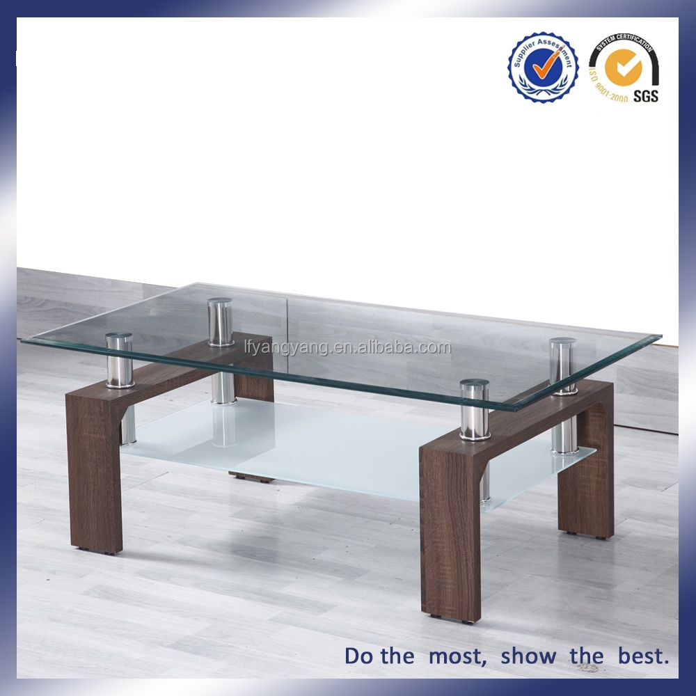SIMPLE WOOD DESIGN COFFEE TABLE CHEAP GLASS MODERN SIDE TABLE