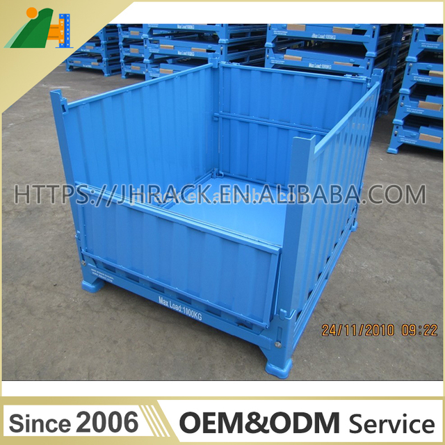 Collapsible And Stackable Warehouse Storage Steel Pallet Box Folding Steel  Container