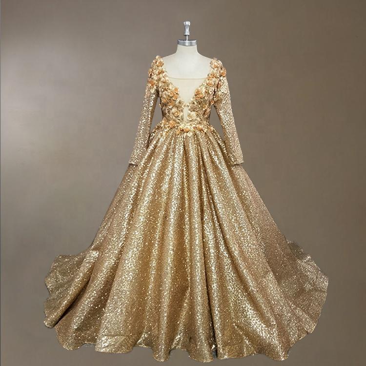 Gold Shiny Sequins Evening Dress Plus Size Women Long Sleeve Evening  Dresses 3d Flower Prom Ball Gown 2019 Latest Design - Buy Plus Size Evening  Dress ...