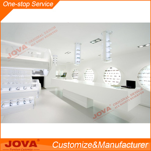 Custom fashion luxury white baking paint MDF optical shop display with optical display cabinets and stand