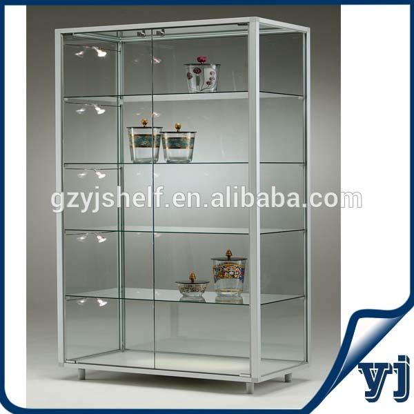 custom store free standing lockable glass display cabinet display