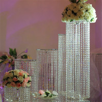 New product 2017 Porcelain Wedding Decorations Crystal Glass Flower Stand with hanging beads