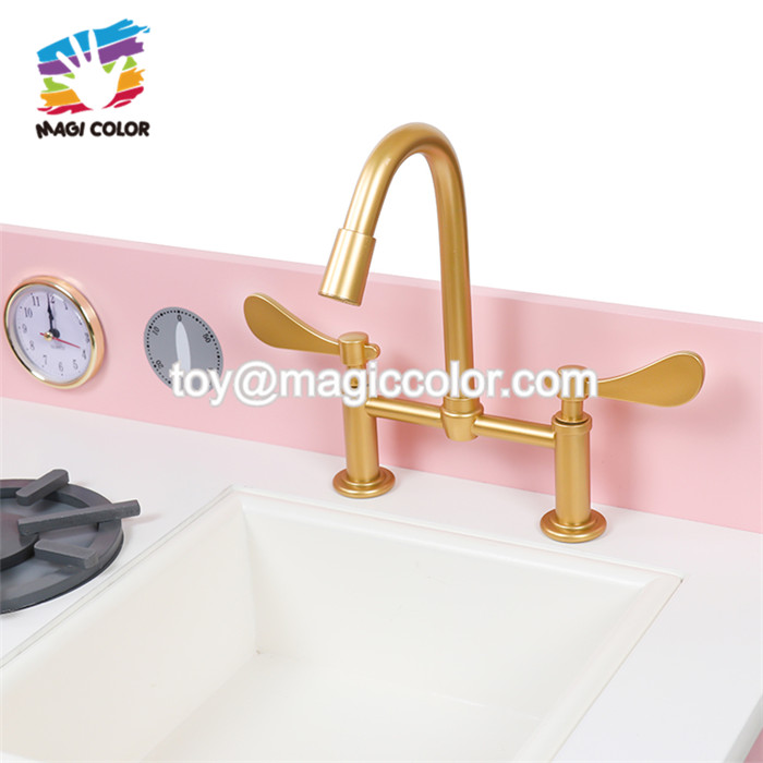 Top sale pink wooden frozen kitchen toy for 2 years old girls W10C370C