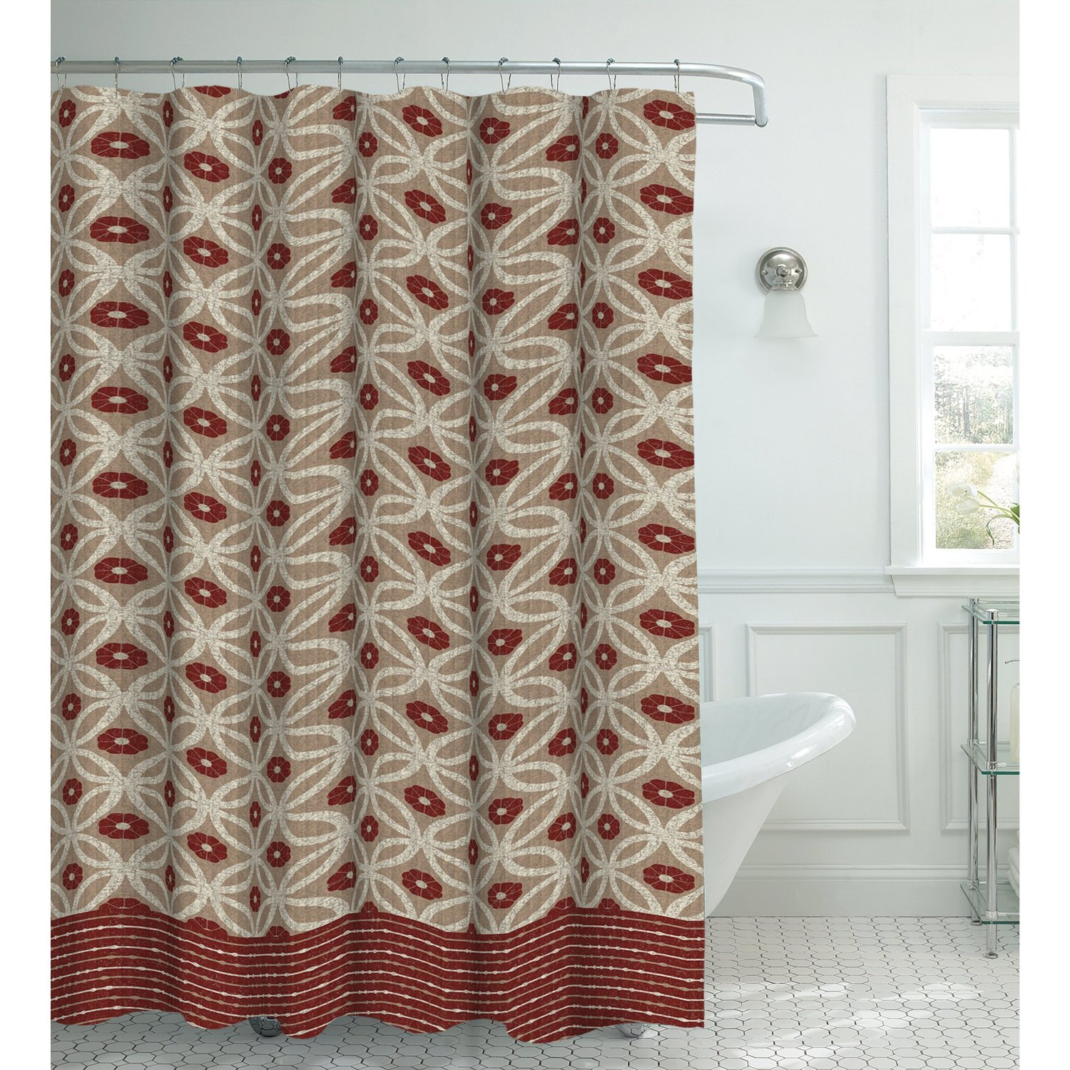 Creative Home Ideas Oxford Weave Textured 13-Piece Shower Curtain with Metal Roller Hooks,