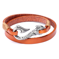 Cowhide Knit Bracelet Personality Alloy Hook Two Ring Men's Bracelet