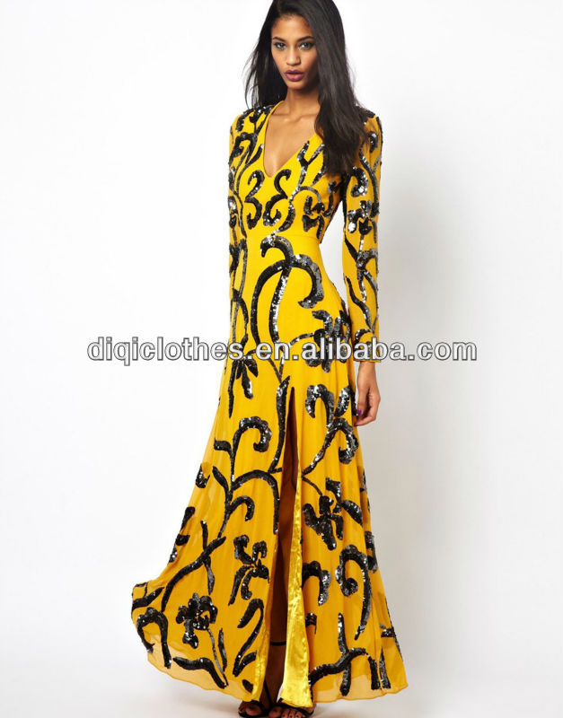 Long Sleeve Maxi Dress Sequin DressYellow Party Dress With High ...