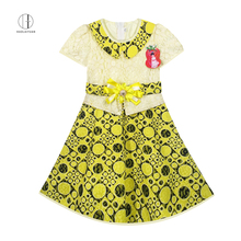 6103 Yellow Haolaiyuan Top sale guaranteed quality children wear african long lace dress