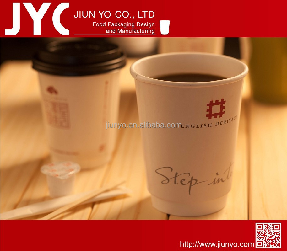 Disposable, 100% biodegradable PLA customized double wall coffee cups