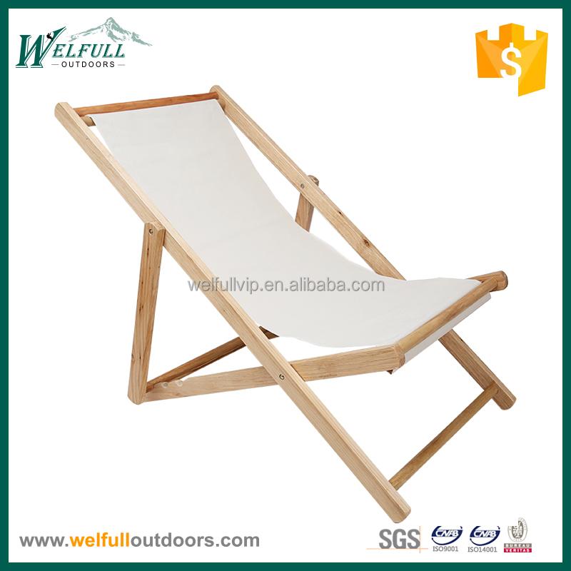 Pliable sans bras toile en bois plage chaise longue chaise for Chaise longue plage pliable
