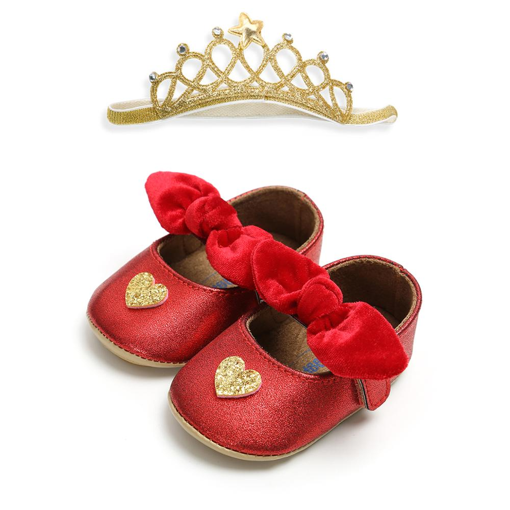 Hot sale 2019 PU Leather rubber sole heart-shaped 0-18 months infant Holiday party leather baby shoes