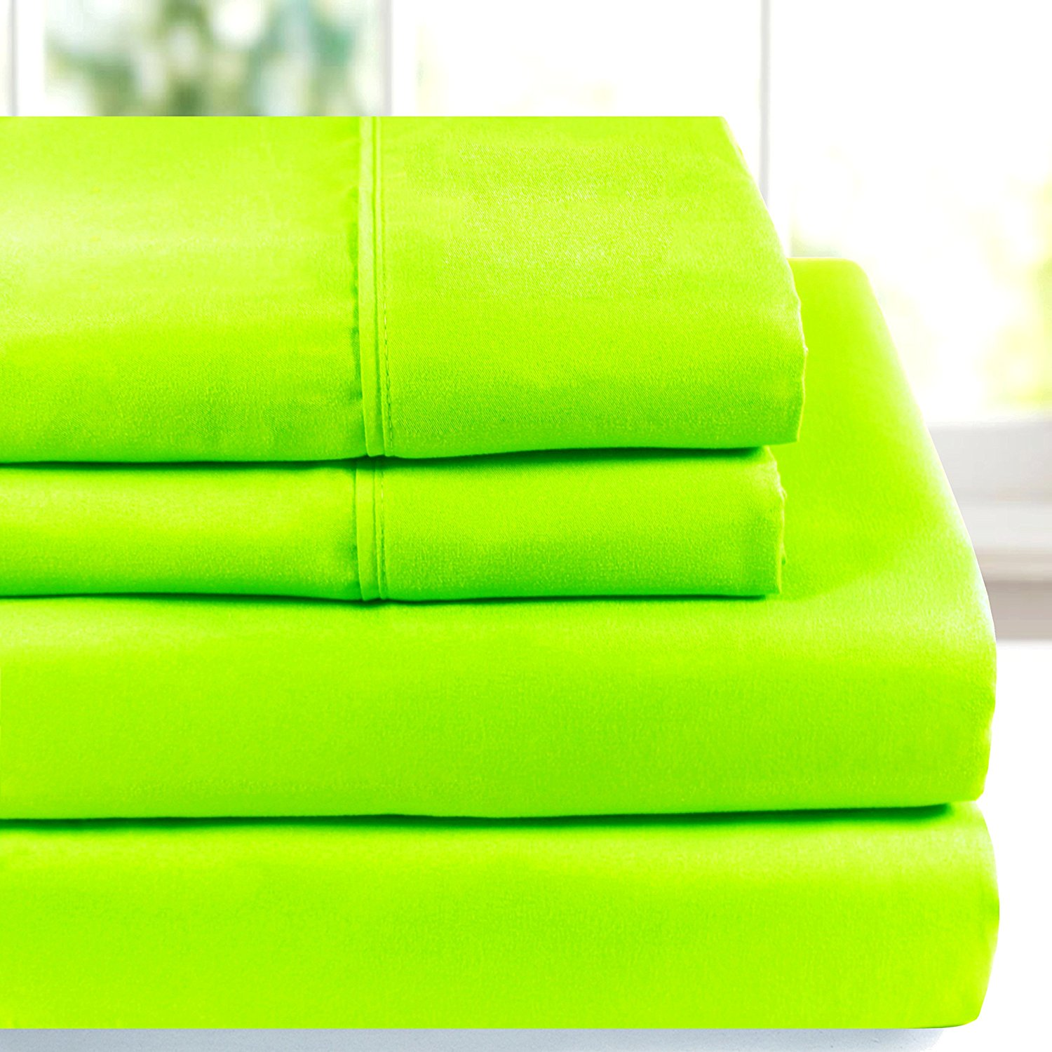 American Home Collection Deluxe 4 Piece Bed Sheet Sets Highest Quality of Brushed Microfiber Wrinkle Resistant Silky Soft Touch (Queen, Lime Green)