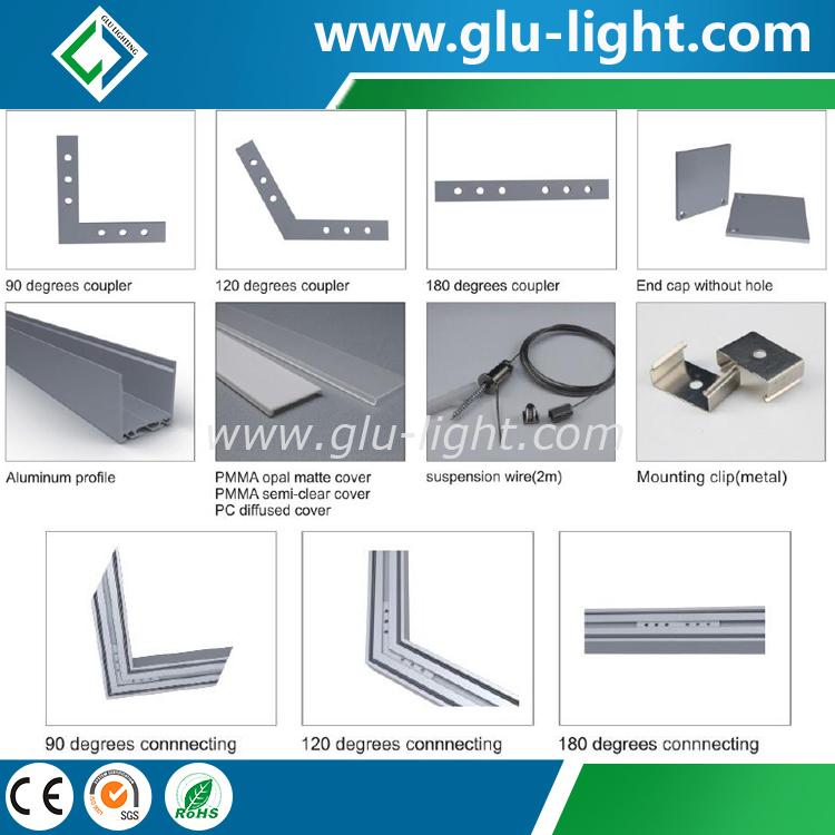 6063 T5 Alu ledet profil for kanalstrimmel, anheng lineære aluminium ledede profiler
