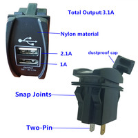 12/24 volt 4.2A input two pin design easy install negative usb car charger