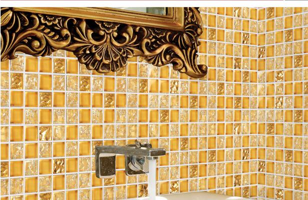 Ghiaccio crepa di vetro dorato di cristallo mosaico piastrelle con