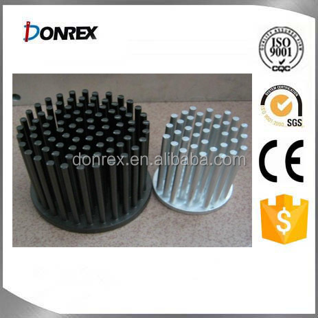 Black anodized aluminum round heat sink with pin