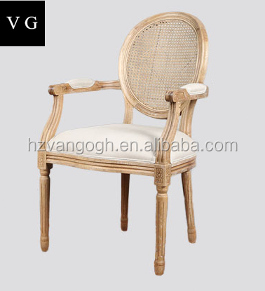 home furniture solid oak handle carved classic round back wooden arm chair