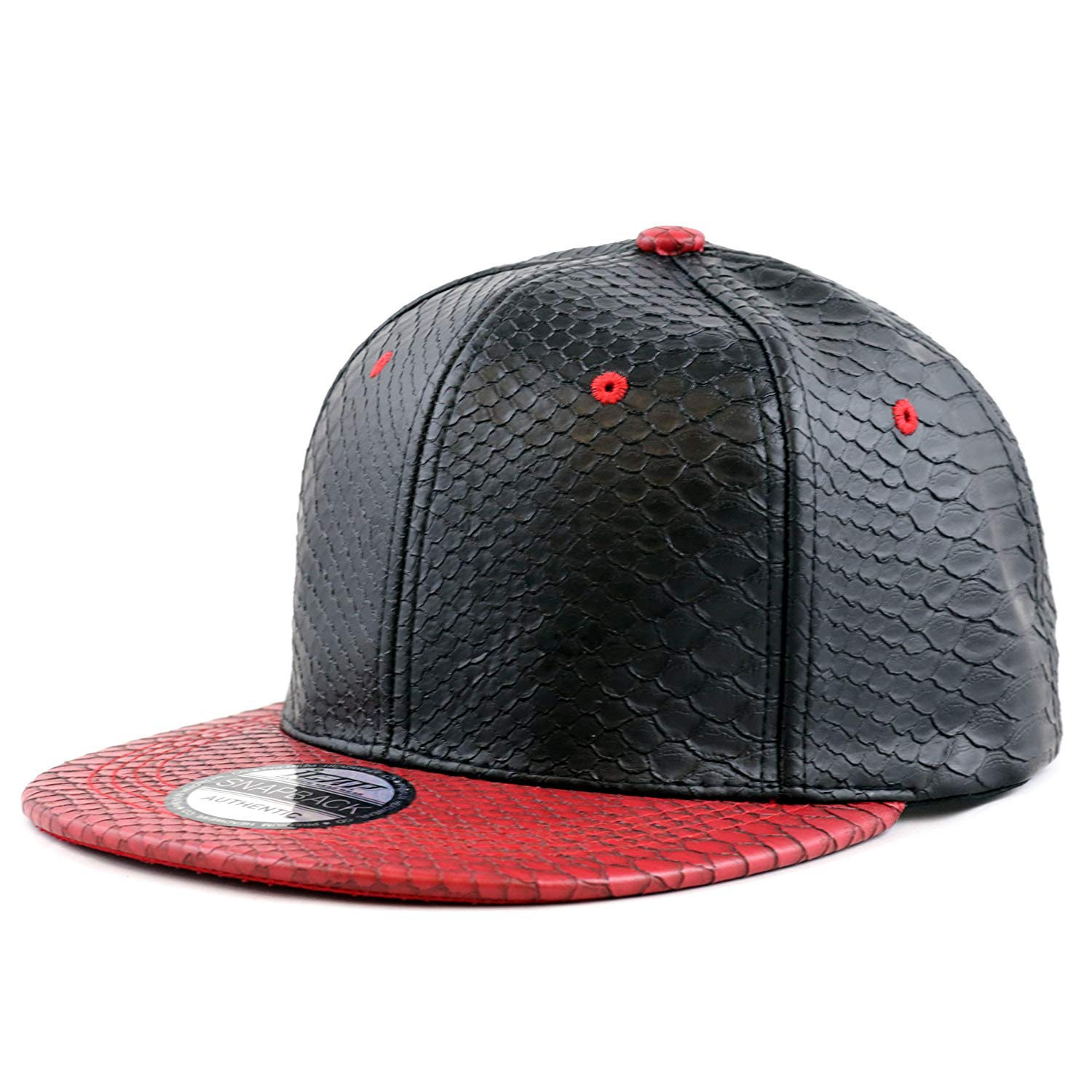 Get Quotations · The Hat Depot 1300 Snakeskin PU Leather Snapback Plain cap e1639d593f27
