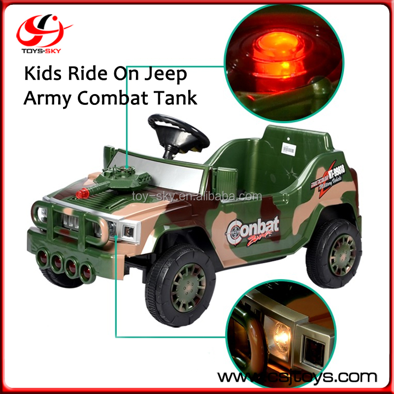 Children RC Jeep Toy Car 6V Remote Control Jeep Army Combat Tank Kids Ride On Car