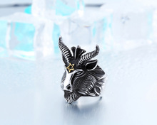 Vintage Jewelry Animal Ring Wholesale Stainless Steel Ring For Men's The Satanic RAMS Ring
