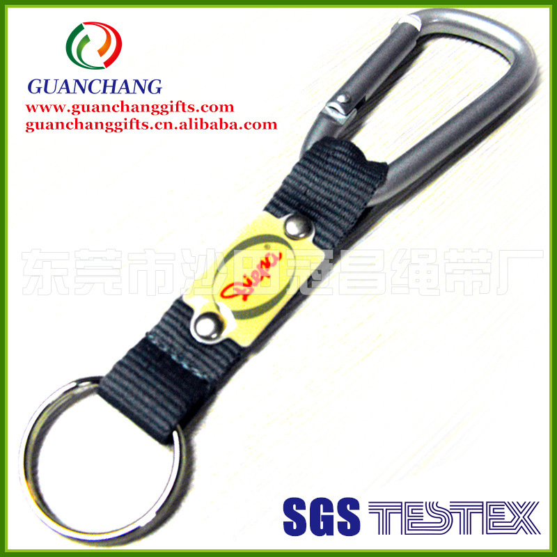 custom promotion cheap short key chain lanyard with carabiner