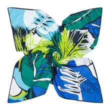 "51.2"" Square Silk Scarf Hijab Shawl Women's Scarves Pashmina Headband 130*130cm Leaves Print Twill Square Scarf"