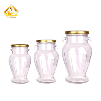 wholesale honey glass jar with wood spoon 100ml 200ml 300ml