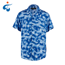 Fashion design morbido casual blue print camicie hawaiane <span class=keywords><strong>uomini</strong></span> <span class=keywords><strong>per</strong></span> le vacanze