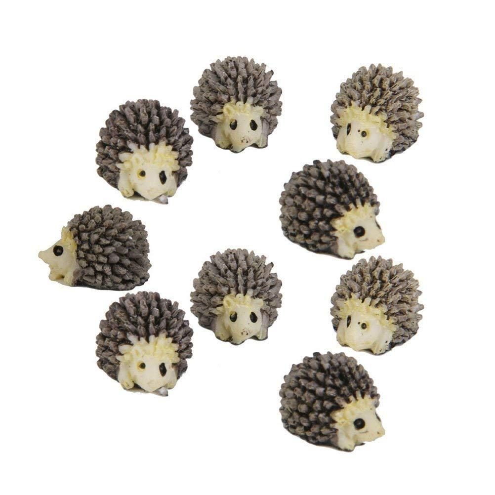 COOLTOP 10pcs Resin Mini Hedgehogs Miniature House Fairy Garden Home Garden Decoration Plant Pots Bonsai Craft Decor