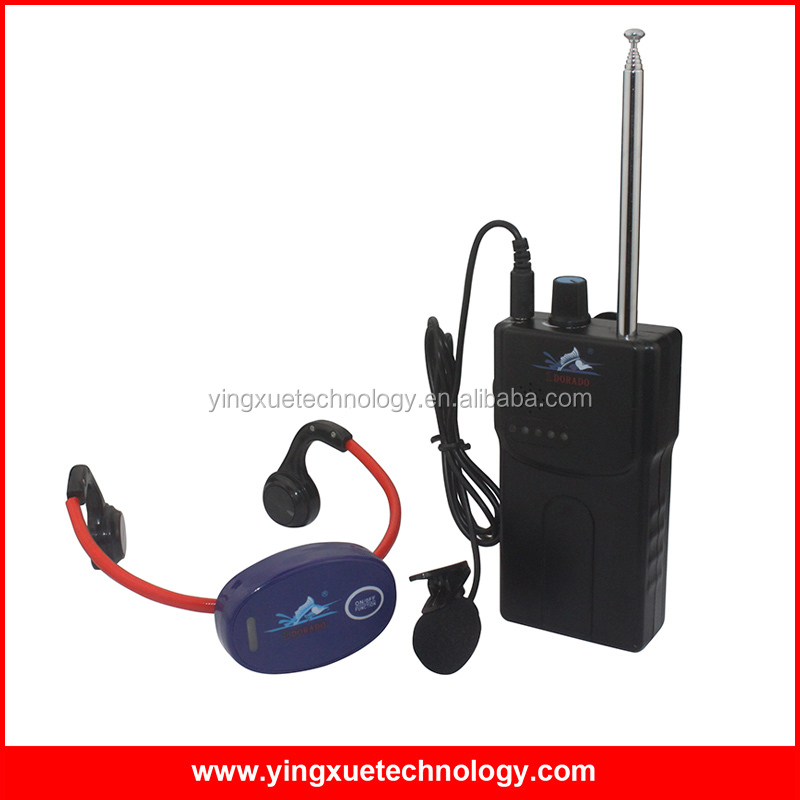 Bone Conduction Swimming Teaching Equipment Walkie Talkie + Waterproof Headphone Receivers for Swimmers and Coach