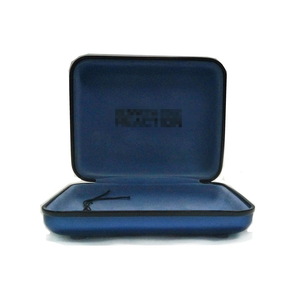 Specific Shape Rectangle Shape Blue Watch CD Music Earphone Metal Tin Box with Stretch Hinged Lid