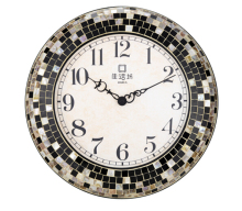 2014 New Design Round Shape Metal/Plastic Wall Clock Retro/Vintage Style Wood-like Luxury Wall Clock.