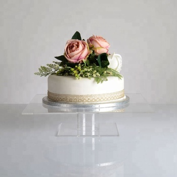 Fancy Clear Acrylic Square Pedestal Wedding Cake Stand