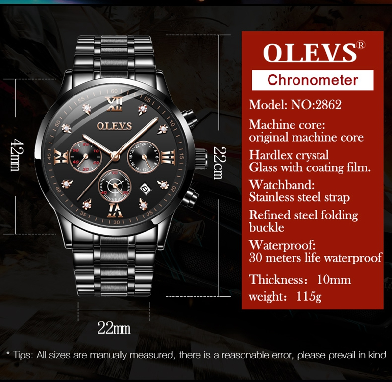 OLEVS Men Watches Casual Sports Waterproof Analog Quartz Clock Multifunction Chronograph stainless steel Business Watch Men 2862