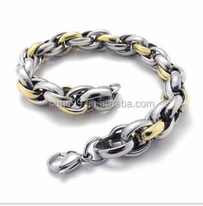 Men's Heavy Large Polished Rope Chain Biker Necklace King Armor Gold Silver Two Tone Stainless Steel Linked Chain