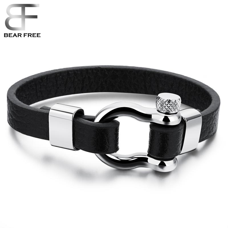 Brief Style Black Cowhide Leather Stainless Steel New Screw Plug Clasp Bracelet